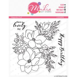 magnolia design photopolymer stamp for crafts, arts and DIY by Mudra