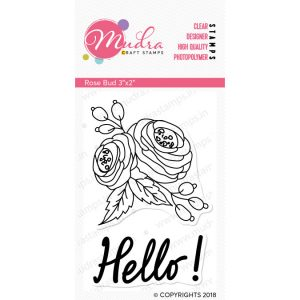 rose bud design photopolymer stamp for crafts, arts and DIY by Mudra