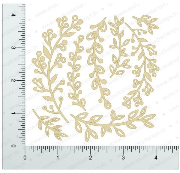 Chipzeb - Spring Foliage - designer chipboard laser cut embellishment by Mudra