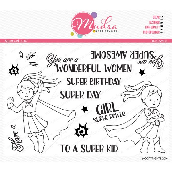super girl design photopolymer stamp for crafts, arts and DIY by Mudra