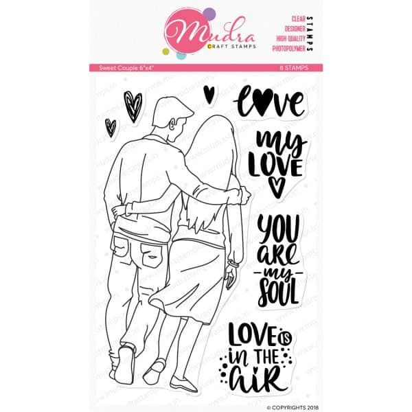sweet couple design photopolymer stamp for crafts, arts and DIY by Mudra