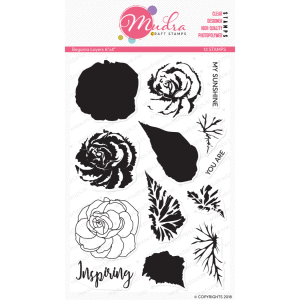 begnolia design photopolymer stamp for crafts, arts and DIY by Mudra