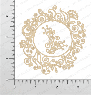 Chipzeb - Circle Floral Frame - designer chipboard laser cut embellishment by Mudra