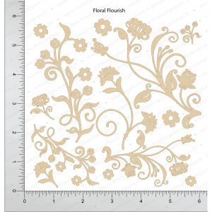 Chipzeb - Floral Flourish - designer chipboard laser cut embellishment by Mudra