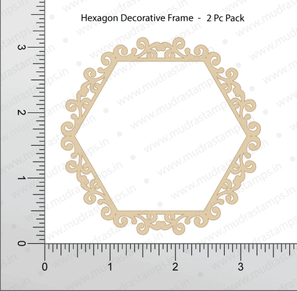 Chipzeb - Hexagon Decorative Frame - designer chipboard laser cut embellishment by Mudra