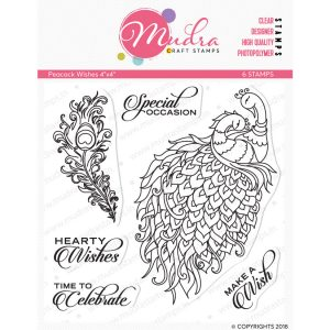 peacock wishes design photopolymer stamp for crafts, arts and DIY by Mudra