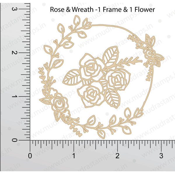 Chipzeb - Rose & Wreath - designer chipboard laser cut embellishment by Mudra