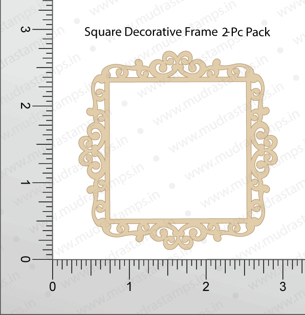 Chipzeb - Square Decorative Frame - designer chipboard laser cut embellishment by Mudra