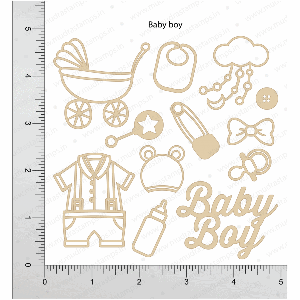 Chipzeb - Baby Boy - designer chipboard laser cut embellishment by Mudra