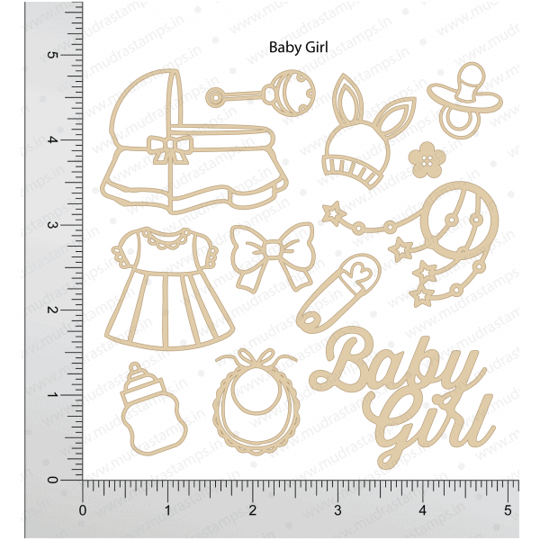 Chipzeb - Baby Girl - designer chipboard laser cut embellishment by Mudra