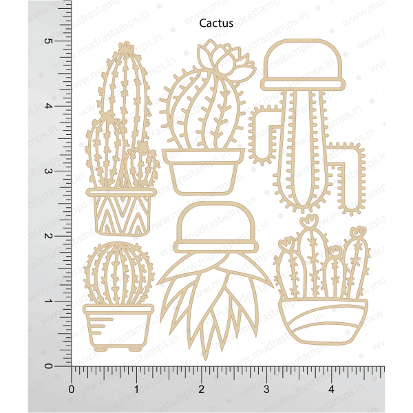 Chipzeb - Cactus - designer chipboard laser cut embellishment by Mudra