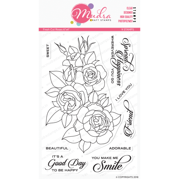 fresh cut rose design photopolymer stamp for crafts, arts and DIY by Mudra