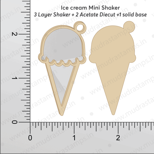 Chipzeb - Icecream Mini Shaker - designer chipboard laser cut embellishment by Mudra