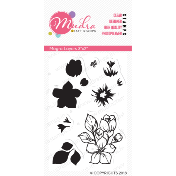 mogra design photopolymer stamp for crafts, arts and DIY by Mudra