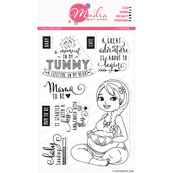 mom to be design photopolymer stamp for crafts, arts and DIY by Mudra