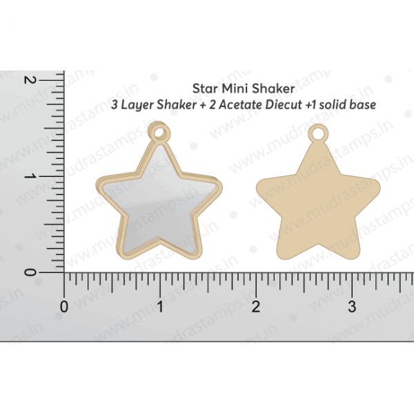 Chipzeb - Star Mini Shaker- designer chipboard laser cut embellishment by Mudra