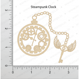Chipzeb - Steampunk Clock - designer chipboard laser cut embellishment by Mudra
