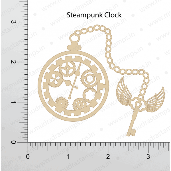 Chipzeb - Steampunk Clock - designer chipboard laser cut embellishment by Mudra