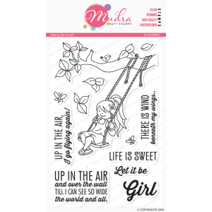 swing girl design photopolymer stamp for crafts, arts and DIY by Mudra