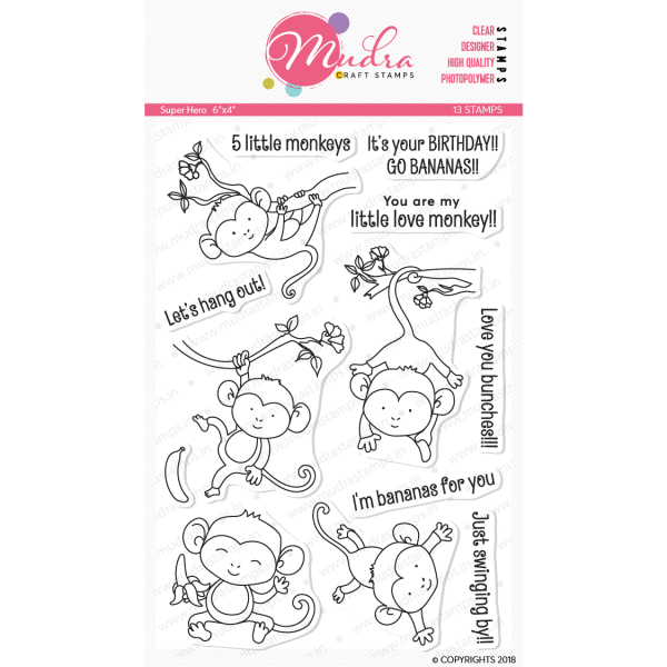 5 little monkeys design photopolymer stamp for crafts, arts and DIY by Mudra
