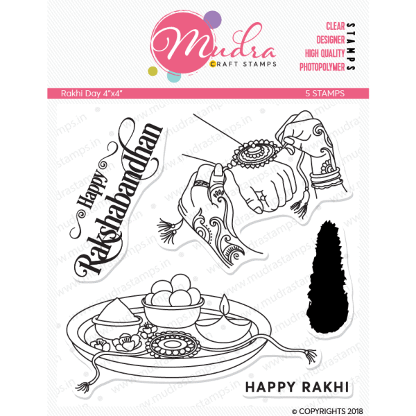 rakhi day design photopolymer stamp for crafts, arts and DIY by Mudra