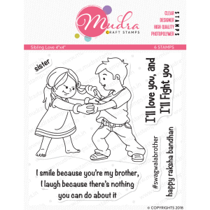 sibling love design photopolymer stamp for crafts, arts and DIY by Mudra