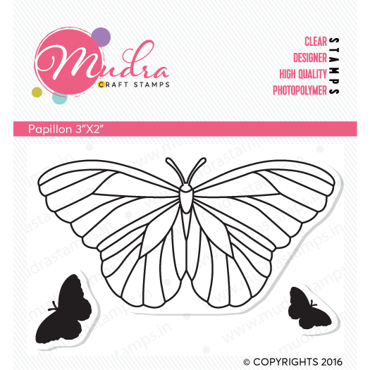 papillon design photopolymer stamp for crafts, arts and DIY by Mudra