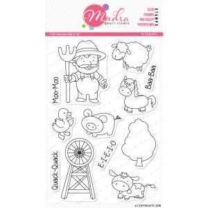 old macdonald design photopolymer stamp for crafts, arts and DIY by Mudra