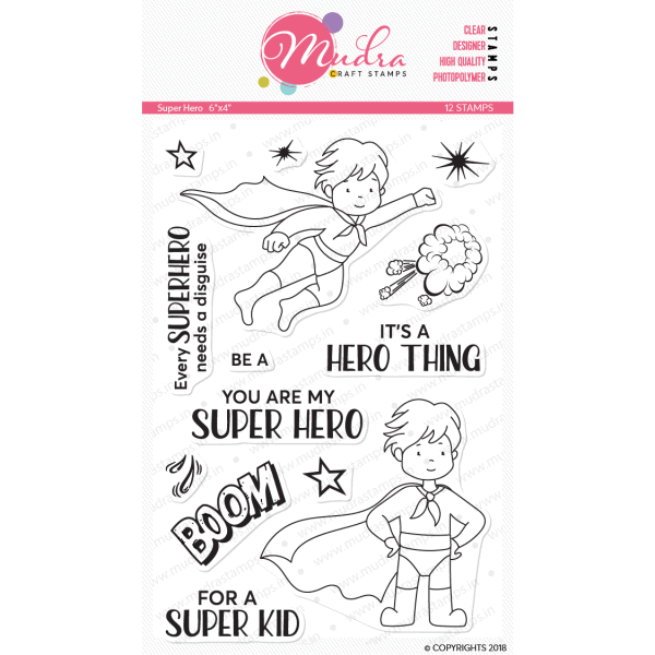 super hero design photopolymer stamp for crafts, arts and DIY by Mudra