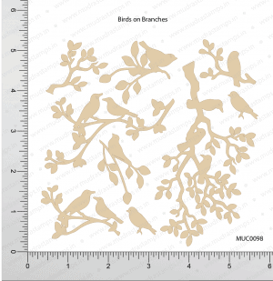 Chipzeb - Birds On Branches - designer chipboard laser cut embellishment by Mudra