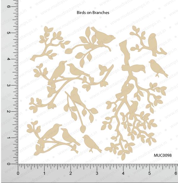 Chipzeb - Birds On Branches - designer chipboard laser cut embellishment by Mudra