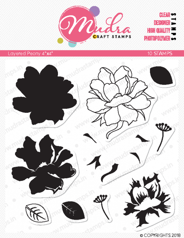 layered peony design photopolymer stamp for crafts, arts and DIY by Mudra