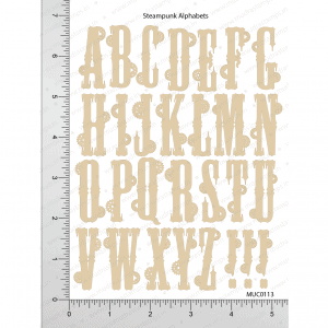 Chipzeb - Steampunk Alphabets - designer chipboard laser cut embellishment by Mudra