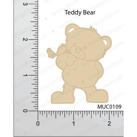 Chipzeb - Teddy Bear - designer chipboard laser cut embellishment by Mudra