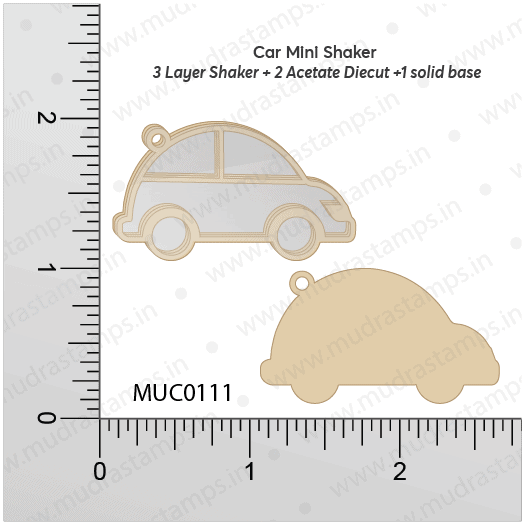 Chipzeb - Car Mini Shaker - designer chipboard laser cut embellishment by Mudra