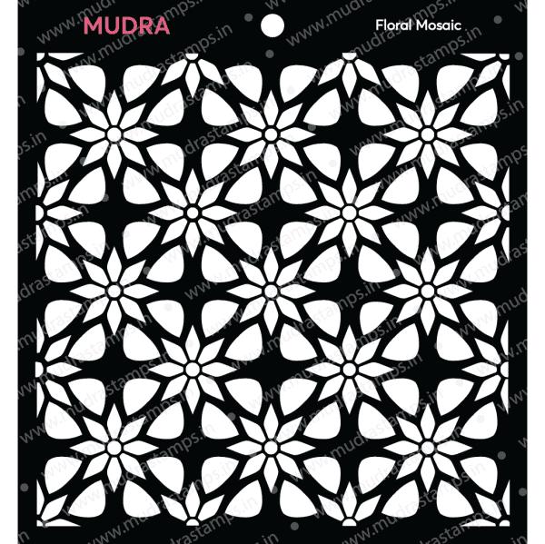 Craft Stencils - Floral Mosaic 6x6 - Mudra