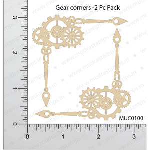 Chipzeb - Gear Corners - designer chipboard laser cut embellishment by Mudra
