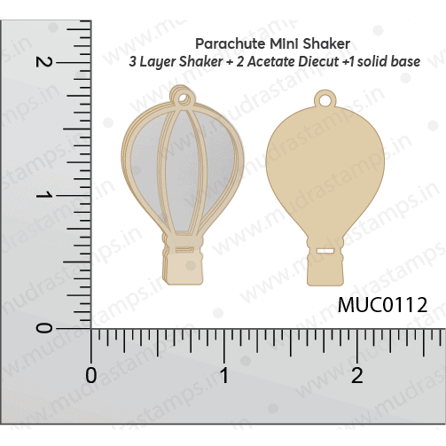 Chipzeb - Parachute Mini Shaker - designer chipboard laser cut embellishment by Mudra