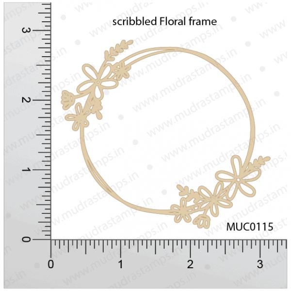 Chipzeb - Scribbled Floral Frame - designer chipboard laser cut embellishment by Mudra