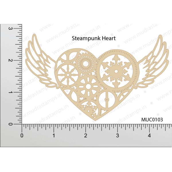Chipzeb - Steampunk Heart - designer chipboard laser cut embellishment by Mudra