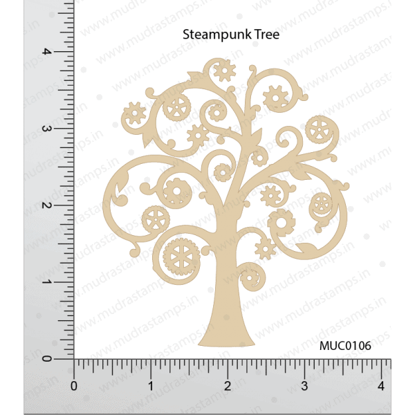 Chipzeb - Steampunk Tree - designer chipboard laser cut embellishment by Mudra
