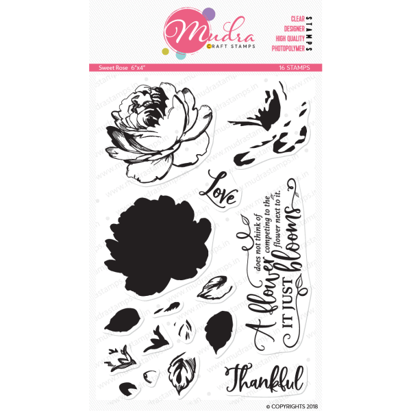 sweet rose design photopolymer stamp for crafts, arts and DIY by Mudra