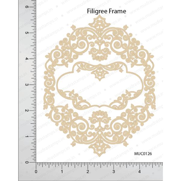 Chipzeb - Filigree Frame - designer chipboard laser cut embellishment by Mudra