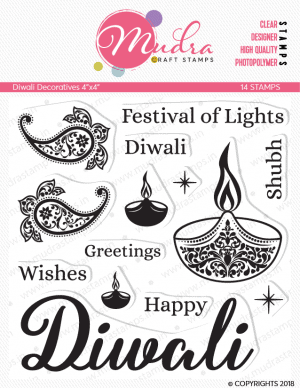 diwali decoratives design photopolymer stamp for crafts, arts and DIY by Mudra