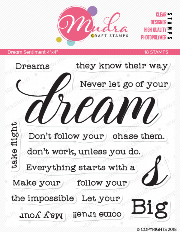 dream sentiment design photopolymer stamp for crafts, arts and DIY by Mudra