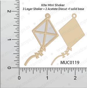 Chipzeb - Kite Mini Shaker - designer chipboard laser cut embellishment by Mudra