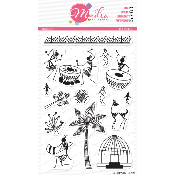 warli design photopolymer stamp for crafts, arts and DIY by Mudra