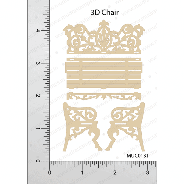 Chipzeb - 3D chair - designer chipboard laser cut embellishment by Mudra