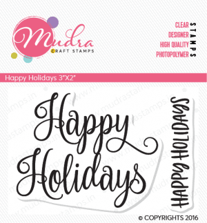 happy holidays design photopolymer stamp for crafts, arts and DIY by Mudra