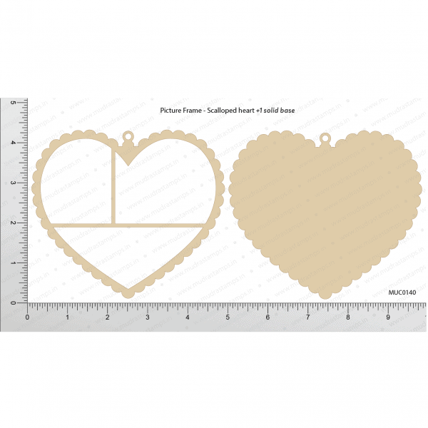 Chipzeb - Picture Frame Scalloped Heart - designer chipboard laser cut embellishment by Mudra